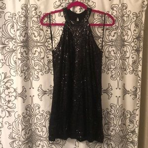 Black sequin party dress